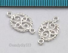 4x STERLING SILVER TWIST FLOWER OVAL CHANDELIER CONNECTOR BEADS 8.9mm #1430