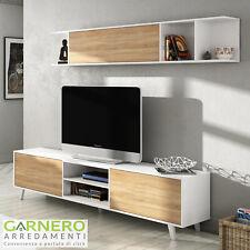 Parete attrezzata PRATICA bianco/legno base televisione mobile porta tv salotto