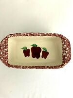 "Loaf Pan Baking Dish 8"" X 4 1/2"" Apples Recipe On Bottom Cinnamon Pull Aparts"