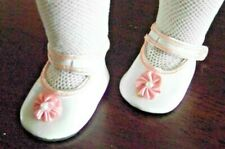 White Party Shoe Pink trim strap and bow for 18 inch Doll like American Girl NEW