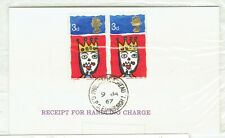 Great Britain. Qeii. 1967. Christmas receipt for handling charge with 2 x 3d sta