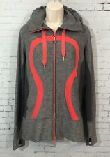 Lululemon Stride Jacket II 10 Heathered Grey Red Luon Hooded Full Zip Hoodie Top