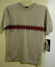 Vtg Nos Indy Knit Diamond Striped Knit T Shirt ~Light Brown & Red Diamonds/Sz M