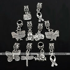 10PCS Tibetan Silver Mix Pattern Dangle Beads For Charms Bracelet Jewelry Gift