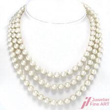 Endlos Akoya Perlenkette - 14K Gelbgold-Stopper - 7 Diamanten -125 cm -84,5 g