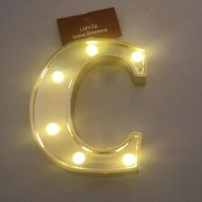 Light Up Marquee Initial Letter Gold-Tone Finish and Bright LED Glow Ornament