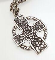 Vintage Sterling Silver Scottish Celtic Cross Pendant Necklace Hallmarked 1950s