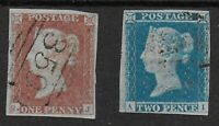 SG8&14.  1841-1d.&2d. 3-4 Margins & VFU. Fresh Colours. Clean Backs.  Ref:0.131