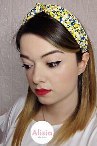 Cerchietto capelli in stoffa fantasia fiori giallo fermaglio fascia nodo donna