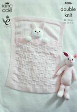 KNITTING PATTERN Baby Textured Bunny Rabbit Blanket & Bunny Rabbit Toy DK 4006