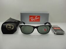 RAY-BAN WAYFARER POLARIZED SUNGLASSES RB2132 605258 BLACK FRAME/GREEN LENS 55MM