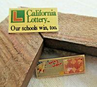 Vintage LOT of 2 LOTTERY California Schools & Lucky Joker Casino Lapel Hat PIN