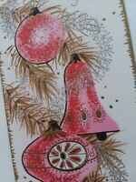 Mid Century Vtg GLITTER Silvered PINK Fancy ORNAMENTS CHRISTMAS GREETING CARD