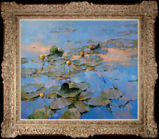 "Hand-painted Original Oil painting art knife impression Lotus On Canvas 24"""