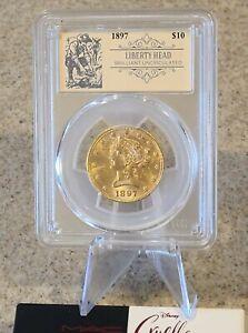 """1897 $10. Liberty Head Gold Coin PCGS Brilliant - Unc. """"Ole Miner Label"""" Orange"""