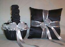 Black Satin / Silver Trim Flower Girl Basket & Ring Bearer Pillow #1