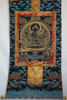 "LUXURIOUS QUALITY 50""EMBROIDERY BROCADE SCROLL THANGKA: BLACK MANJUSRI MANJUSHRI"