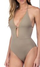 LA BLANCA DECO HALTER STUDDED ONE PIECE SWIMSUIT PEBBLE SIZE 10 US