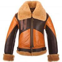 Bomber Shearling Two Tone RAF B3 Brown Sheepskin Men's Genuine Leather Jacket
