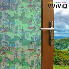 """Frosted Kids Town Window Glass Decorative Privacy Home DIY Vinyl Film 36"""" x 24"""""""