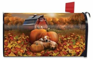 Welcome Fall Puppies Magnetic Mailbox Cover Pumpkin Barn Autumn Standard