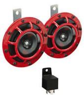 with Relay/& WIRING GENUINE HELLA RED GRILL SIGNATURE SUPERTONE HORN SET12V PAIR