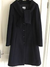 MOSCHINO (Cheap &Chic): Vintage Chic Size 10 Navy Blue Midi Coat Tie Collar: EUC