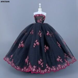 """Black Red Flower Handmade Wedding Dress For 11.5"""" 1/6 Doll Clothes Outfits Gown"""
