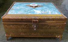 Vintage Cuendet Swiss Footed Musical Jewelry Box Guilloche Enamel Floral Plaque