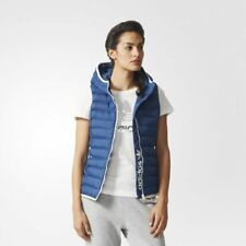 "Brand New with Tags Adidas Originals Ladies Slim Vest Gilet Hood Blue White 32"""