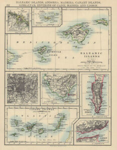 IBERIA. Balearic/Canary Islands Andorra Madeira Gibraltar Madrid Lisbon 1901 map