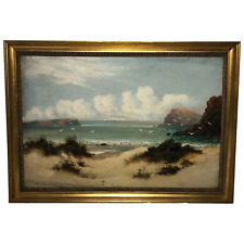 Victorian Marine Oil Painting Beach Gulls On Shoreline Listed William Langley