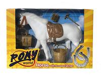 Pony World Juguetes - Caballo con Accesorios Set Sadle Cubo Trough Pinceles Caja