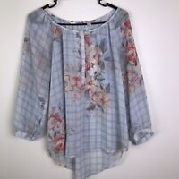 Lauren Conrad Floral Semi Sheer Top Size M 3/4 Sleeve Blouse R01