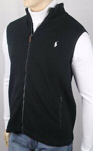 Polo Ralph Lauren Black Full Zip Sweater Vest White Pony NWT