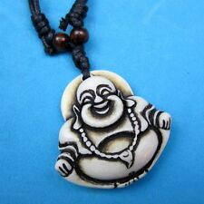 Bone Carved Maitreya Buddha Pendant Necklace/ Black Adjustable Cord/ U.S Seller