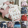 Soft Floral Quilt Duvet Cover Set Flat Sheet Pillowcase Bedding Set Home Decor
