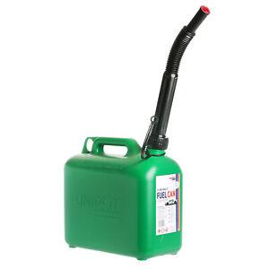Brookstone Unipart 5 Litre Unleaded Fuel Petrol Can Slim Design Auto Stop Spout