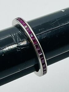 Antique Platinum Invisible Set Square Ruby Eternity Band Ring Size 5