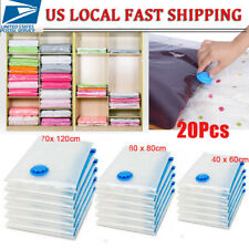 20Pcs Clear Air Vacuum Storage Seal Bags Space Saving Compression Clothes 3 Size