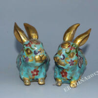 "5.2"" Old China Bronze Cloisonne Enamel Gilt Lucky Animal Rabbit Statue Pair"