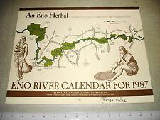 1987 ENO RIVER ASSOCIATION CALENDAR Durham NC Mint SIGNED NR