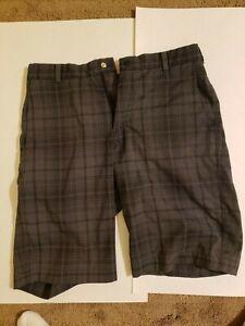 Nike Golf Tour Performance Men's Dri-Fit Dark Grey Checkered Golf Shorts Size 32