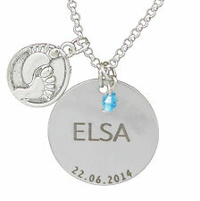 Baby Foot Disc & Gem Pendant Personalised Engraved Name Date Necklace Jewellery