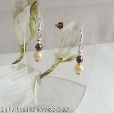 Pretty Coffee &  Rich Cream Glass Pearl Beads Dangle Pierced Earrings