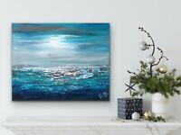 "20"" Small Abstract Artwork Modern coastal Painting Gifts blue sea Free Shipping"