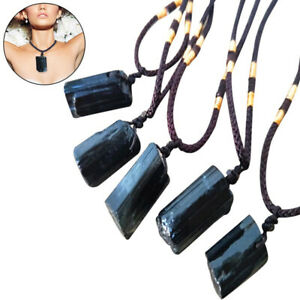 Natural Black Tourmaline Stone Necklace Crystal Pendant Original Stone Accey^lk