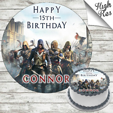 ASSASSINS CREED UNITY ROUND BIRTHDAY CAKE TOPPER DECORATION PERSONALISED