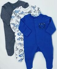 Mothercare Baby Boys Lion Animal Stripe 3 Pack Sleepsuits Babygrow Tiny-12  Mths