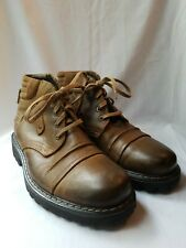 GBX Brown Leather Lace Up Round Toe Zipper Detail Mens Ankle Boots Sz 10 Euro 42